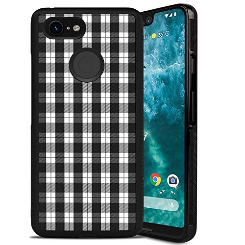 Google Pixel 3 XL Phone Case, Black White Plaid Pattern Anti-Scratch Shock Proof PC and TPU Case for Google Pixel 3 XL