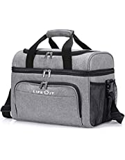 Lifewit Collapsible Cooler Bag 32-Can Insulated Leakproof Soft Cooler Portable Double Decker Cooler Tote for Beach/Picnic/Sports