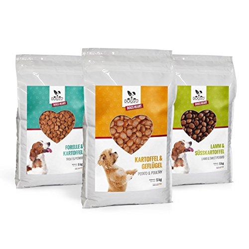 DOGS-HEART 3er-Bundle (3x5 kg): Forelle, Geflügel, Lamm - Getreidefreies Hundefutter mit hohem Fleischanteil. Bestes Futter ohne künstliche Zusätze mit Mineralien und Vitaminen für gute Verdauung, starke Knochen und glänzendes Fell - Hundetrockenfutter ohne Zucker, Mais oder Weizen (3 x 5 kg = 15 kg)