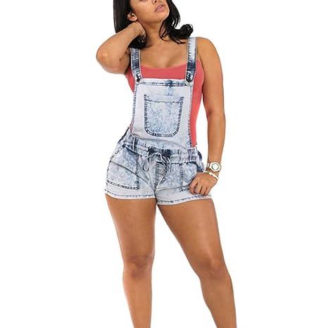 Wildeal sexy da donna skinny denim salopette jeans pantaloncini con bretelle c4c5d6619fc6
