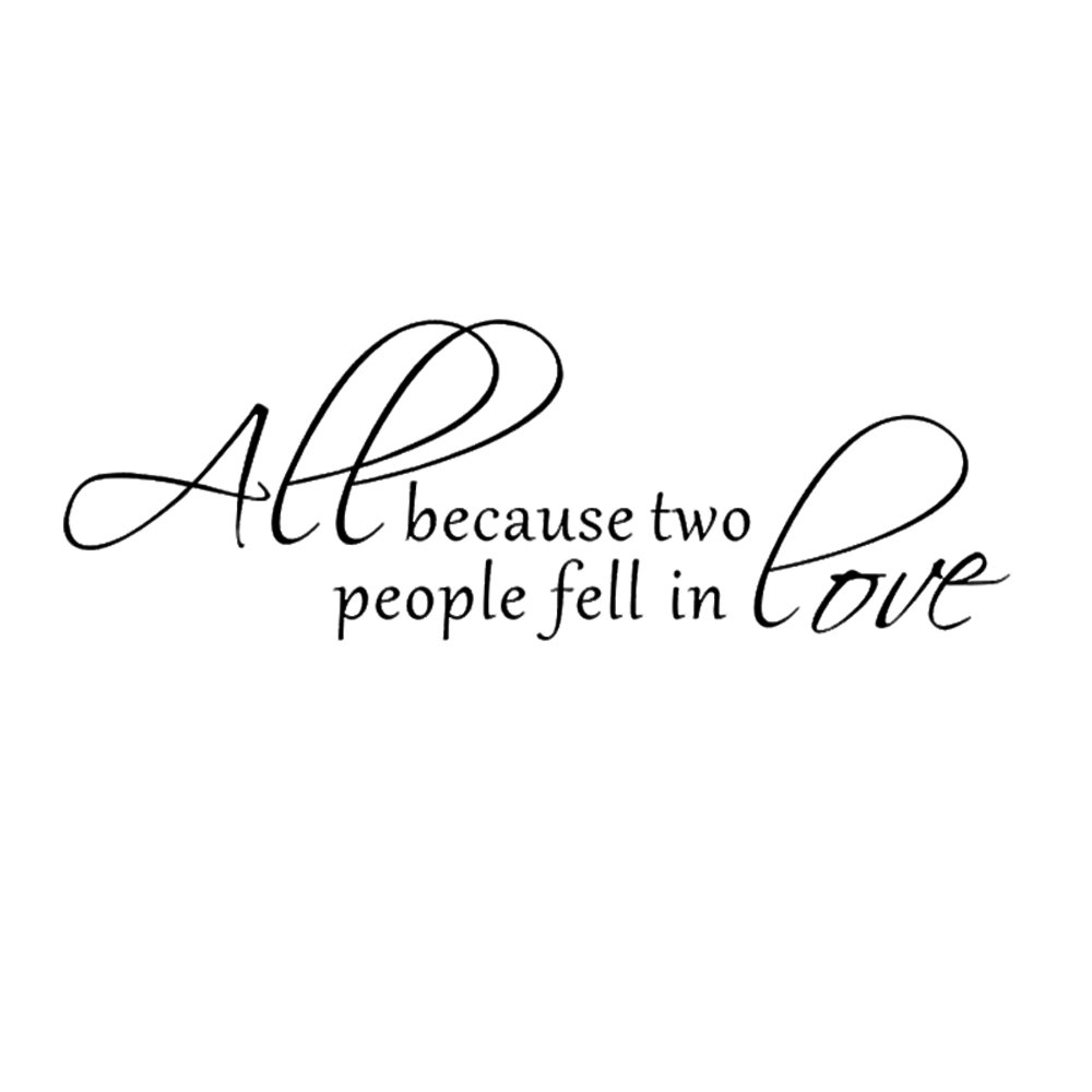 Amazon.com: All Because Two People Fell In Love   Wall Decal Love Words  Expressions Sayings Quotes Typography (Black, Medium): Home U0026 Kitchen
