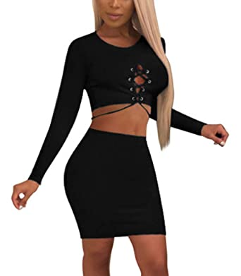 8d6f47e35f5 Two Piece Outfits for Women Sexy - Bodycon Long Sleeve Lace Up Crop Top +  Tight