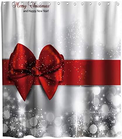 LB Christmas Shower Curtain Kids,Silvery Red Rope Ball Snowflakes Fashion Holiday Theme Shower Curtain 72x72 Inches Waterproof Fabric Bathroom Set Bath Mat