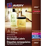 """Avery Print-to-the-Edge Rectangular Labels for Laser and Inkjet Printers,  2"""" x 3"""", Glossy Clear, Rectangle, 80 Labels, Permanent (22822)"""