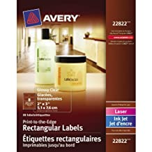"""Avery Print-to-the-Edge Rectangular Labels for Laser and Inkjet Printers,  2"""" x 3"""", Glossy Clear, Rectangle, 80 Labels, Permanent (22822) Made in Canada"""