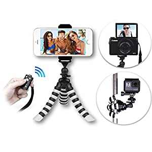 The YouTube CreatorPod 3-in-1 HD Mini Flexible Tripod Kit for iPhone X 8 7 6 Plus, GoPro or Camera AND Bluetooth Remote – Best Gorillapod w/ Big Phone Clamp Mount, Samsung S8+ etc.