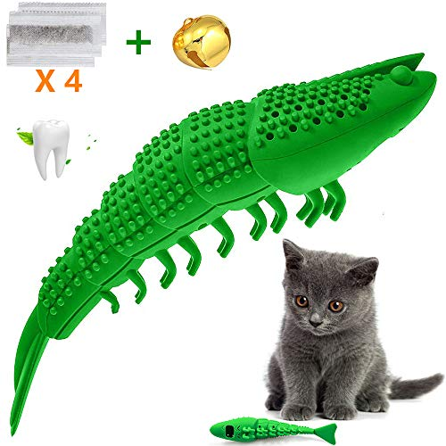 Transy Catnip Cat Toys, Interactive Cat Toothbrush Catnip Chew Toys, Chew Treat Toys for Kitten Kitty Cats Lobster Shape, Rubber Kitten Toys 2
