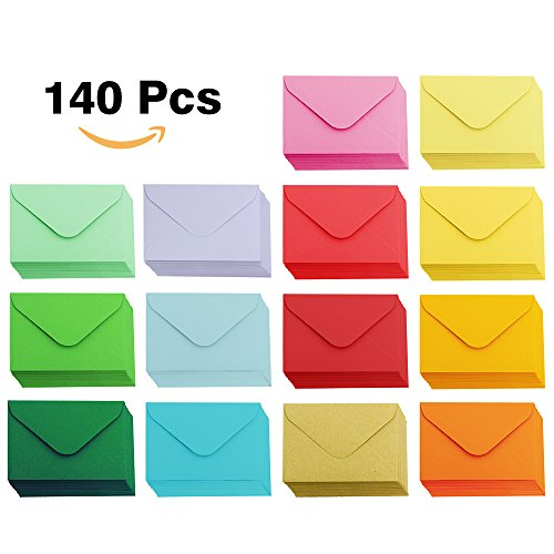Supla 140 Pcs Mini Envelopes 14 Colors Gift Card Envelopes 4