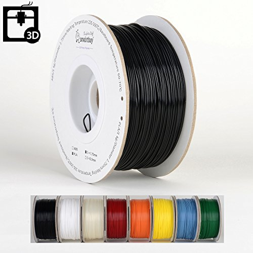 Smartbuy 1.75mm Black PLA 3D Printer Filament - 1kg Spool / Roll (2.2 lbs) - Dimensional Accuracy +/- - Hip Black Onyx