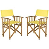 Safavieh Outdoor Living Collection Laguna Director Chairs, Brown/Yellow, Set of 2