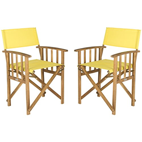 Safavieh Outdoor Living Collection Laguna Director Chairs, Brown/Yellow, Set of 2 ()