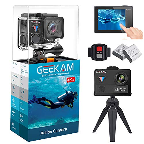 GeeKam WiFi Sports Action Camera 4K 30fps Ultra HD Touch Screen 170° Wide Angle Lens Underwater Waterproof Camcorder Remote Control 2 Rechargeable 1350mAh Batteries Mounting Accessories