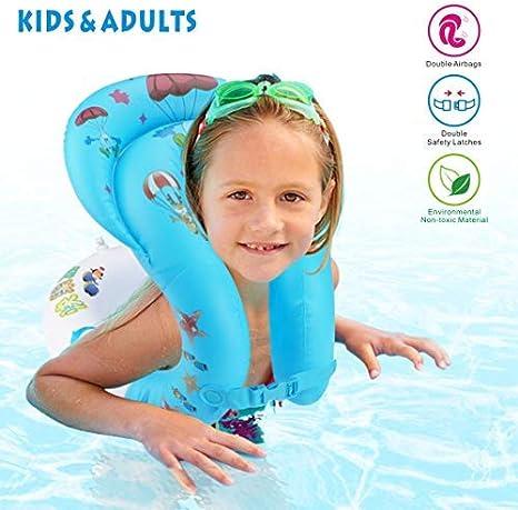 Idefair Anillo de natación Inflable - Chaleco Flotante con Flotador en el Anillo Flotador para niños Adultos Niños Nadando Aprendiendo Playa Piscina Juguetes para Fiestas S M L (L)