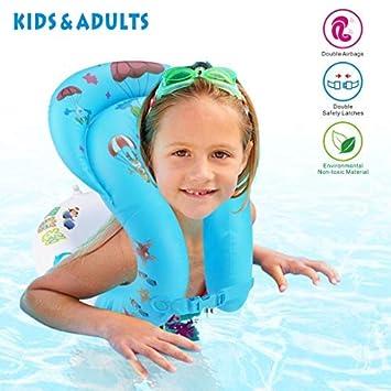 Idefair Anillo de natación Inflable - Chaleco Flotante con Flotador en el Anillo Flotador para niños Adultos Niños Nadando Aprendiendo Playa Piscina ...