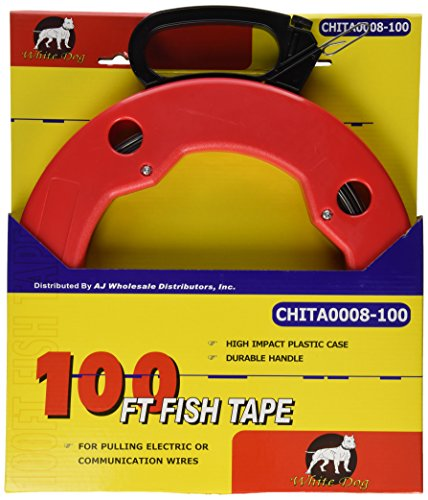 100 FT Fish Tape with High Impact Case for Electric or Communication Wire (Electric Puller)