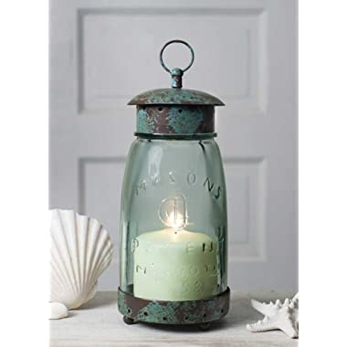 Colonial Tin Works Mason Jar Candle Lantern,Green