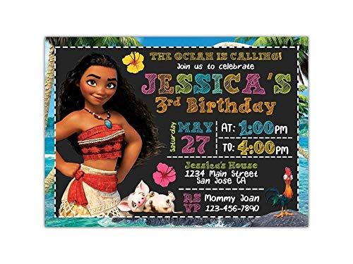 Custom Moana Birthday Party Invitations for Kids, 10pc-60pc 4