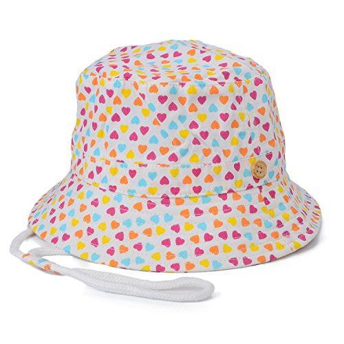 Flammi Unisex Kids UV Sun Protective Cotton Bucket Hat with Chin Strap (18.9