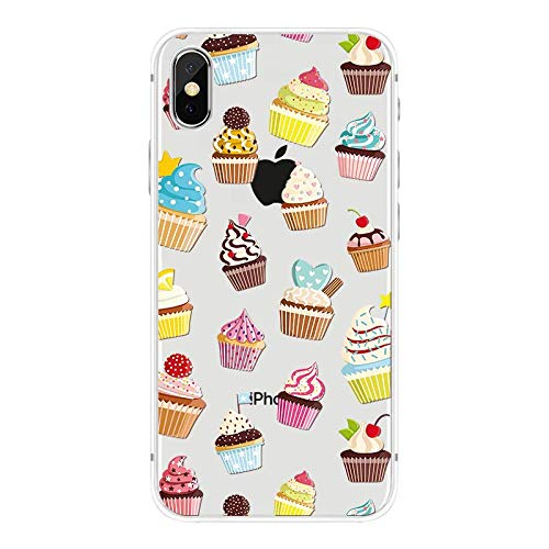 iPhone XR Case,Blingy's New Food Dessert Style Transparent Clear Soft TPU Protective Case Compatible for iPhone XR (Frosty Cupcakes)