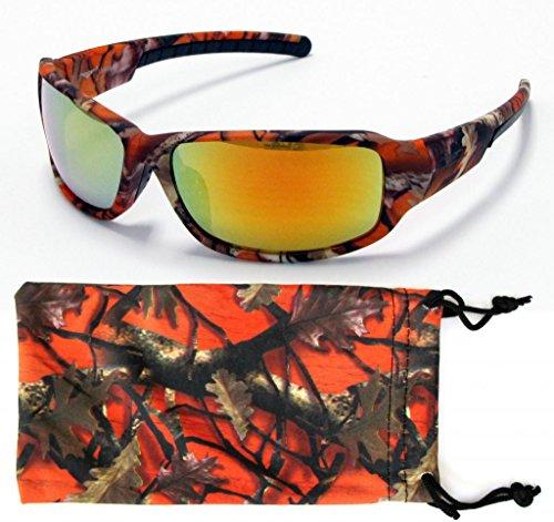 Camouflage Sunglasses Brown Orange White Camo Fishing Hunting Free Micorfiber Pouch