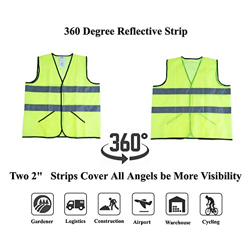 CIMC Yellow Reflective Safety Vest with Pockets, 10 Pack, Bright Construction Vest with Reflective Strips,Made from Breathable and Neon Yellow Mesh Fabric,High Visibility Vest for Working Outdoor by CIMC SAFETY (Image #4)