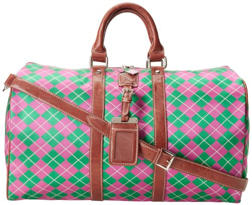 Pink And Argyle Green - Sydney Love Argyle Small Duffel Carry On,Pink/Green,One Size