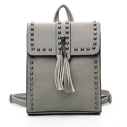 Backpack Tassel Rucksack Purse Retro Shoulder PU Bag Women Rivets Leather Black Bag Ladies BdU8Sqw
