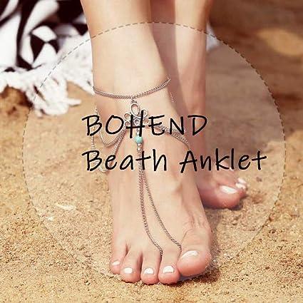 Bohond Boho En couches Bracelet de cheville Or Feuilles Bracelets de cheville Multicouche Plage Cha/înes de pied Bijoux Accessoires pour Femmes et filles
