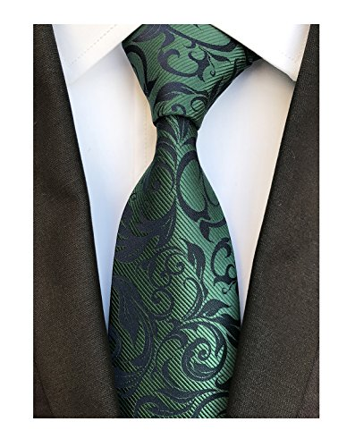 Deep Green Black Tie Azalea Flowers Neckties for Mens Boys BF Father's Day Gifts ()