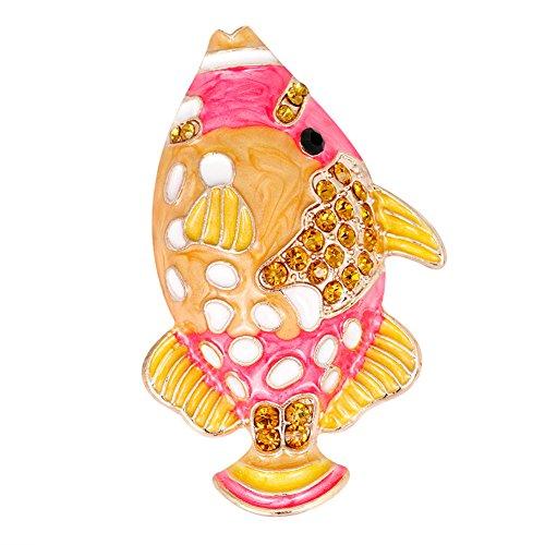 ink2055 Cute Fish Rhinestone Brooch Pin Women Scarf Dress Hat Clothes Decor Jewelry - Golden