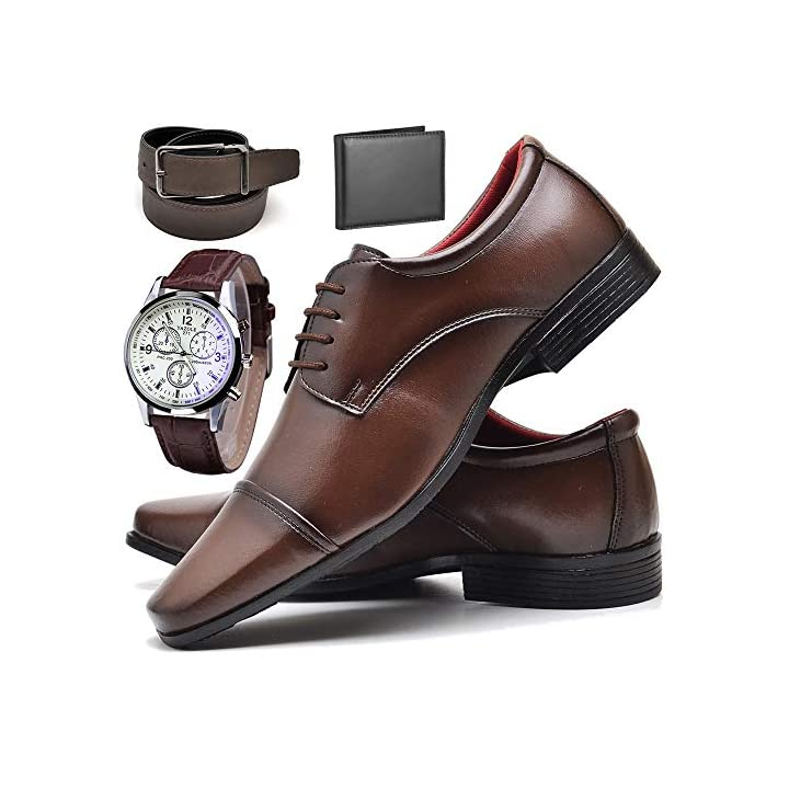 Kit com sapato, relógio, cinto e carteira