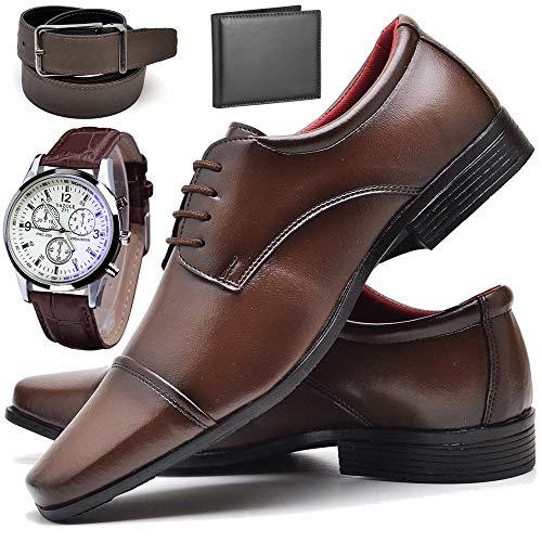 Kit Sapato Social Com Relógio Cinto Carteira Verniz Com Cadarço ZARU R807DB Tamanho:39;cor:Marrom;gênero:Masculino