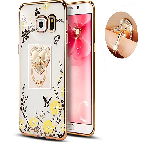 Samsung S8 Plus Floral Crystal TPU Case-Auroralove Soft Slim Bling Rubber Cover for Samsung Galaxy S8 Plus with Rhinestone Diamond Detachable 360 Ring Stand for Girls Women(Gold+Yellow)