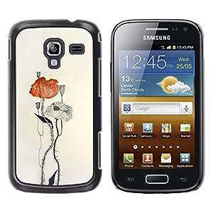 Arte flor de la amapola de papel Acuarela- Metal de aluminio y de plástico duro Caja del teléfono - Negro - Samsung Galaxy Ace 2