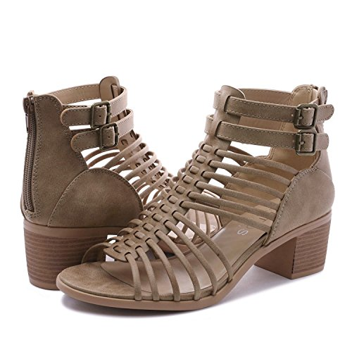 TOETOS Women's Ivy_02 Nude Fashion Block Heeled Sandals Size 11 B(M) US by TOETOS (Image #4)