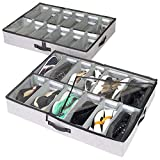 storageLAB Under Bed Shoe Storage Organizer, Adjustable Dividers - Set of 2, Fits 24 Pairs Total - Underbed Storage Solution