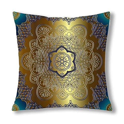 INTERESTPRINT Gold Blue Mandala Floral Swirls Eastern Arab Style Cushion Case Protector Pillowcase with Zipper 18x18 Inch, Decorative Pillow Cover Home Decor