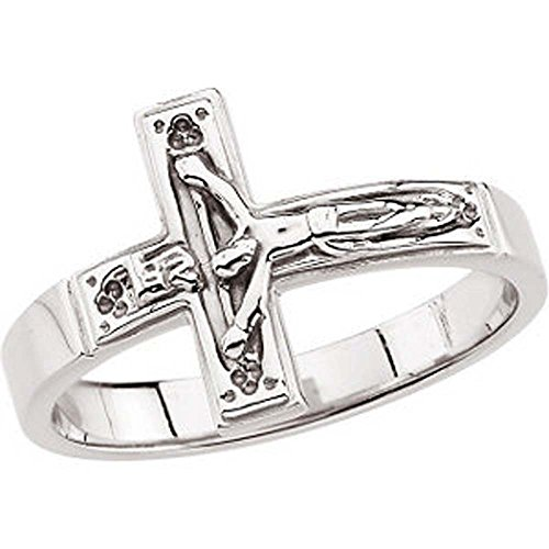 Crucifix Chastity Ring in 14K White Gold (Size 10)