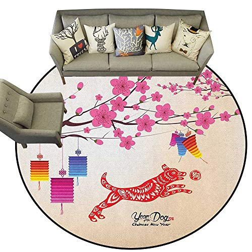 - Year of The Dog,Vintage Rugs Plum Blossom Branches with Canine Figure with Ornamental Leaves Pattern D54 Circle Rugs for Living Room