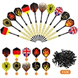 Gyvazla Darts Set, 12Packs 18g Soft Darts with Black Plastic Dart Tips, Brass Steel Barrels with 6 Style Flights,100 Tip Points for Dartboard, Fit for Every Rec Room, Man Cave, Bar and Game Room