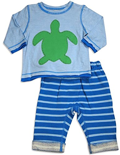 (Pepper Toes - Baby Boys Long Sleeve Turtle Pant Set, Light Blue, Blue 30347-9Months)