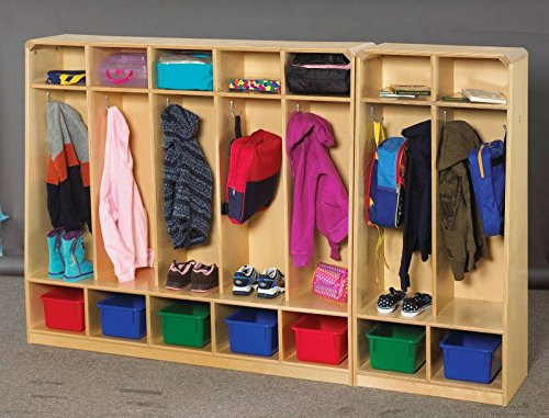 Korners for Kids 249528 5-Unit Bench Coat Locker, Birch, Natural Wood Tone