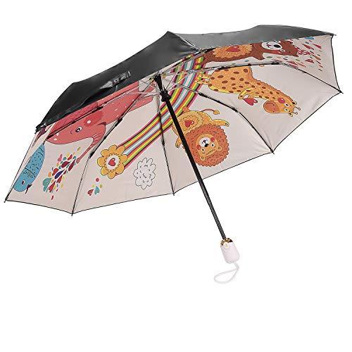 [해외]HUANHUA 엄 숙 녀 자동 개폐 원터치 소형 귀여운 멋쟁이 비가 겸용 접이식 우산 테 초 발 수 자외선 예방 가공 눈부심 방지 열 운반에 편리 / HUANHUA Folding Umbrella Women`s Auto Opening And Closing One Touch Compact Cute Stylish Sunny Rai...