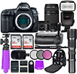 Canon EOS 5D Mark IV Digital SLR Camera with Canon EF 50mm f/1.8 STM Lens + Canon EF 75-300mm f/4-5.6 III Lens + Accessory Bundle