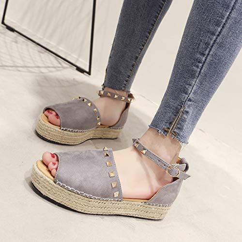 Remache Hebilla Sunnsean Estampado Zapato Tiras Romano Gris Tobillo Zapatos Ante Leopardo Para Mujer Sandalias En El Chanclas Con De SxvrwSPtqg