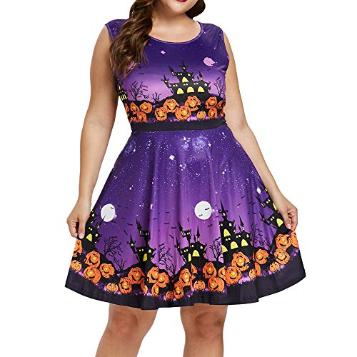 charmsamx Women Sleeveless Halloween Pumpkin Print Party Dress Large Size Cocktail Swing Dress Vintage Cosplay Party Costume Casual A-line Halloween Dress