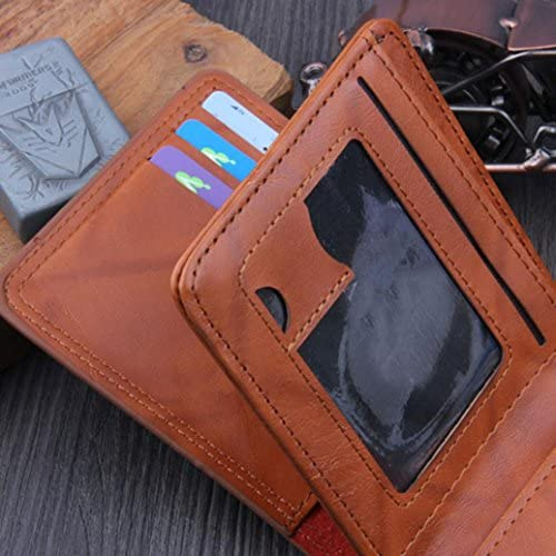 Wobuoke Mens Bags US Dollar Bill Wallet Brown PU Leather Wallet Bifold Credit Card With Id Window
