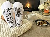 """Luxury Cotton""""Bring Me Coffee"""" Funny Socks - Perfect Mothers Day Gift for Her, Hilarious Novelty or Gag Gift Idea for Wife or Husband - Best White Elephant Present For Coffee Lover"""