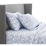Pinzon 170 Gram Velvet Flannel Sheet Set - Full, Blue Paisley