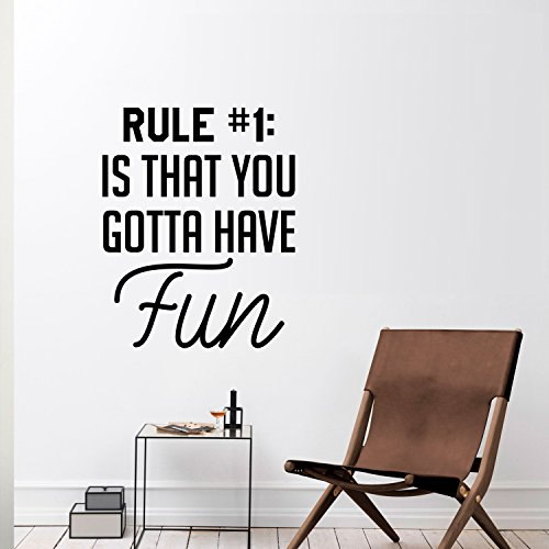 Pulse Vinyl Vinyl Art Wall Decal - Rule #1 Is That You Gotta Have Fun - 23'' x 19'' - Inspiring Quote Decals For Bedroom Apartment Dorm Room Work Space Removable Indoor Outdoor Wall Decor Art Sticker by Pulse Vinyl
